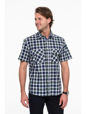 Рубашка Westrenger. Цвет: темно-синий, белый, зеленый