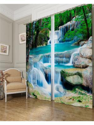 Фотошторы Водопад в лесу, Блэкаут Сирень. Цвет: голубой, бирюзовый, зеленый, серый