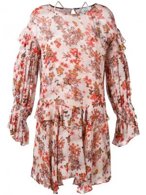 Платье с оборками и цветочным узором Iro. Цвет: многоцветный