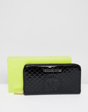 Versace Стеганый кошелек на молнии Jeans. Цвет: черный