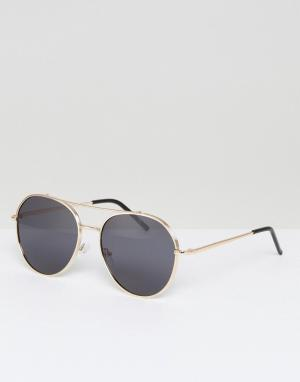 AJ Morgan Metal Aviator Sunglasses In Gold. Цвет: золотой