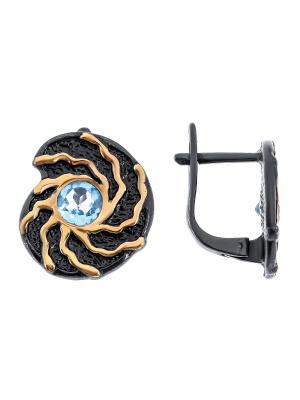 Серьги Балтийское золото. Цвет: черный,синий,лазурный,голубой,серебристый,золотистый