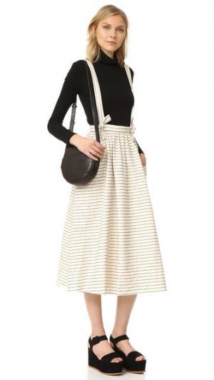 Широкая юбка с подтяжками Mara Hoffman. Цвет: черный/кремовый (в полоску)
