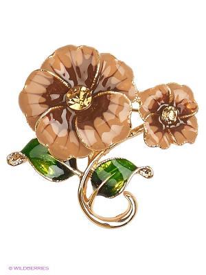 Брошь Lovely Jewelry. Цвет: коричневый