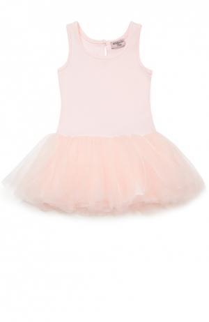 Платье джерси с пышной юбкой Monnalisa. Цвет: розовый