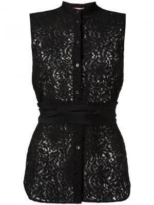 Кружевная блузка с поясом Nº21. Цвет: чёрный