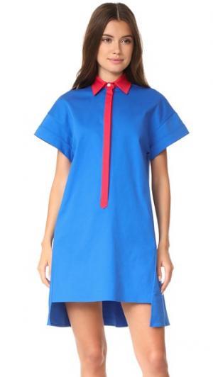 Платье-рубашка Stevens с заниженными плечами Novis. Цвет: королевский/красный