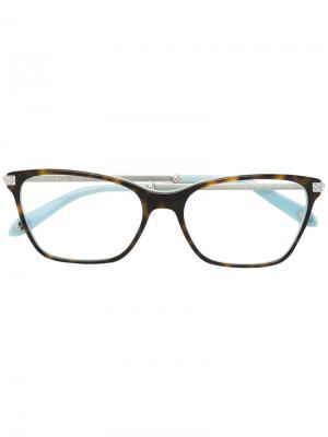 Очки в квадратной оправе с кристаллами Tiffany & Co.. Цвет: коричневый