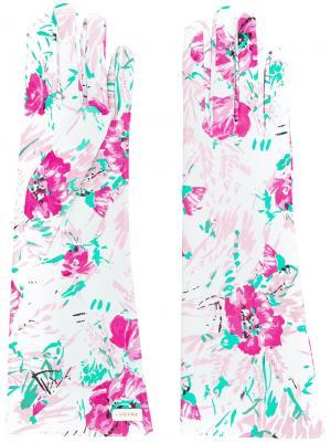 Перчатки с цветочным принтом Prada. Цвет: белый