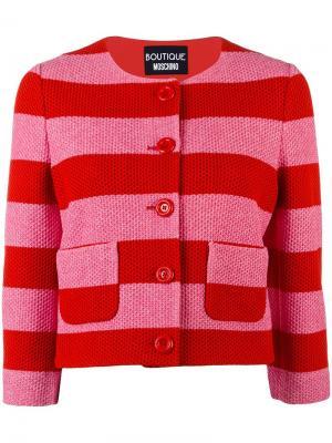 Полосатый укороченный пиджак Boutique Moschino. Цвет: красный
