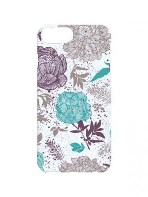 Чехол для iPhone 7Plus Ретро-цветы Арт. 7Plus-136 Chocopony. Цвет: серый, голубой