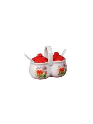 Набор для специй Гвоздика (2 емкости по 170г) в п/у Elff Ceramics. Цвет: белый, красный