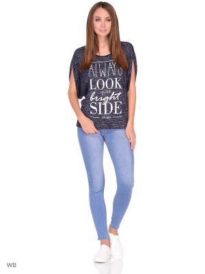 Блузка HomeLike. Цвет: темно-синий, белый