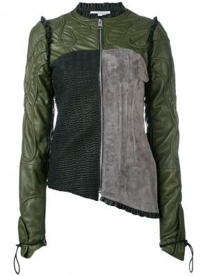Colour-block biker jacket J.W.Anderson. Цвет: зелёный