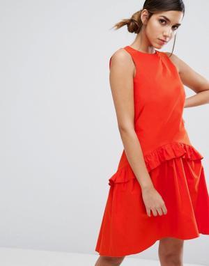 Closet London Платье с заниженной талией и рюшами. Цвет: оранжевый