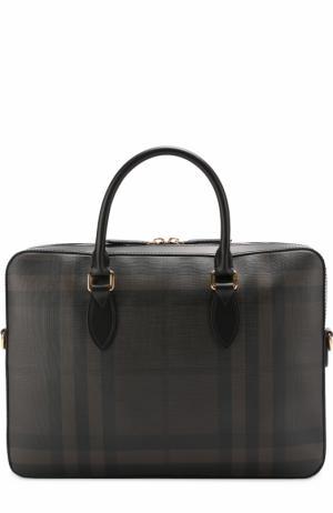 Портфель в клетку London Check с кожаной отделкой Burberry. Цвет: коричневый
