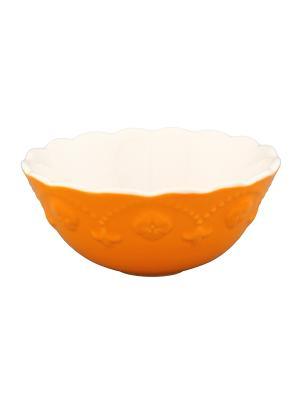 Салатник Оранжевый с узором Elan Gallery. Цвет: оранжевый