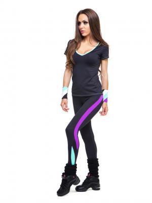Леггинсы DZETA. Цвет: черный, морская волна, фиолетовый