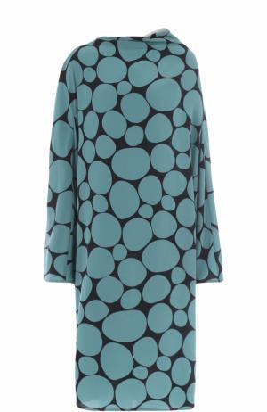 Шелковое платье свободного кроя с принтом Marni. Цвет: зеленый
