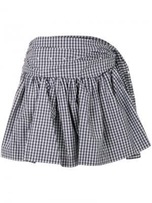 Присборенная юбка в клетку Jourden. Цвет: серый