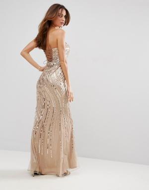 Forever Unique Декорированное платье макси с вырезом сердечком. Цвет: бежевый