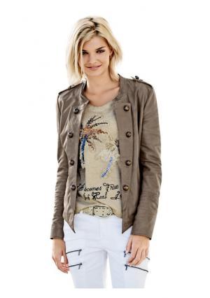 Кожаная куртка Mandarin. Цвет: серо-коричневый
