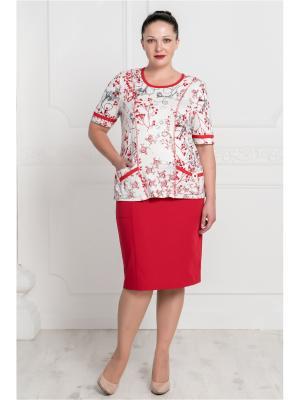 Блузка VERA NOVA. Цвет: красный, белый, черный