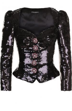 Жакет с фигурным вырезом и рукавом-фонарик Dolce & Gabbana. Цвет: черный