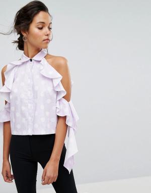 Style Mafia Блузка в горошек с открытыми плечами. Цвет: фиолетовый