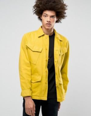 Weekday Джинсовая куртка в стиле милитари Field. Цвет: бежевый