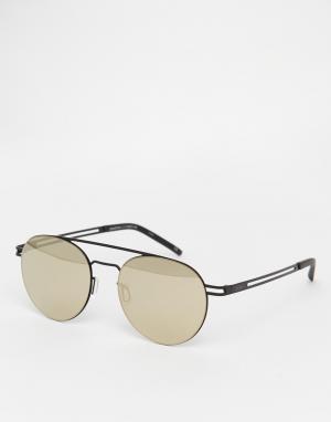 Le Specs Круглые солнцезащитные очки-авиаторы с зеркальными линзами Sp. Цвет: черный
