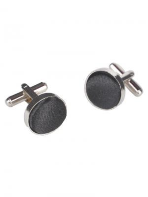 Запонки классические черная ткань Churchill accessories. Цвет: серебристый
