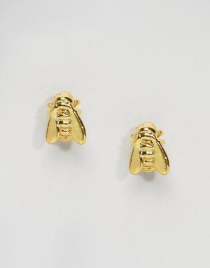 Bill Skinner Позолоченные мини-серьги в виде пчел. Цвет: золотой