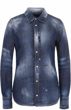 Приталенная джинсовая блуза с потертостями Dsquared2. Цвет: синий