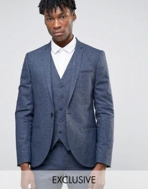Noak Супероблегающий пиджак в крапинку. Цвет: темно-синий