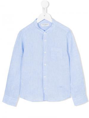 Рубашка с воротником-стойкой Paolo Pecora. Цвет: синий