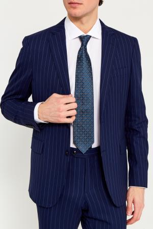 Синий галстук с геометрическим орнаментом ERMENEGILDO ZEGNA. Цвет: multicolor