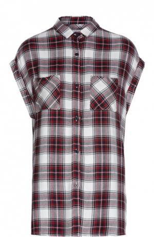 Блуза в клетку без рукавов с накладными карманами Rails. Цвет: красный