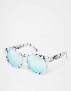 Quay Australia Круглые солнцезащитные очки с зеркальными стеклами High Emotion. Цвет: белый