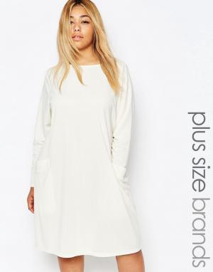 Carmakoma Цельнокройное платье с карманами. Цвет: кремовый