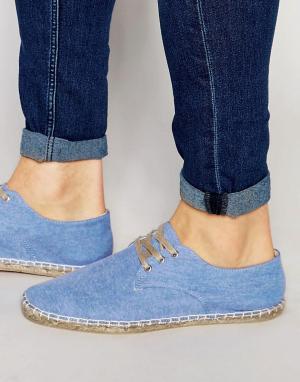 ASOS Голубые туфли дерби из шамбре. Цвет: синий
