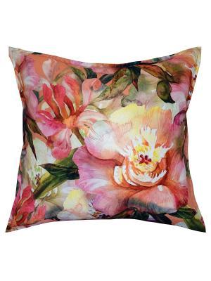 Подушка декоративная, принт ПИОНЫ Dorothy's Нome. Цвет: зеленый, розовый, персиковый