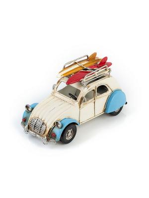 Модель Ретро Автомобиль белый с синим, фоторамкой и подставкой для ручек 4х5см PLATINUM quality. Цвет: белый, синий