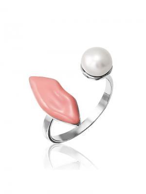 Стильное кольцо с жемчугом KU&KU. Цвет: серебристый, белый, розовый