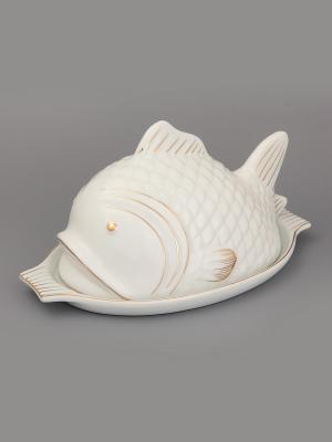 Блюдо с крышкой Рыба Elan Gallery. Цвет: белый