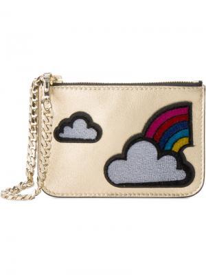 Монетница с аппликацией облаков и радуги Les Petits Joueurs. Цвет: металлический