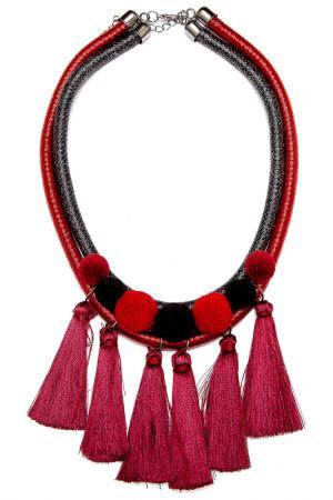 Колье Asavi Jewel. Цвет: красный, черный, серебряный