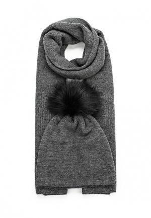 Комплект шапка и шарф Mascotte. Цвет: серый