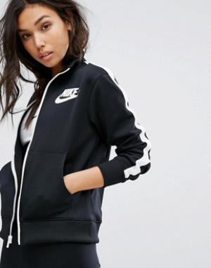 Nike Черная спортивная куртка с высоким воротом. Цвет: черный