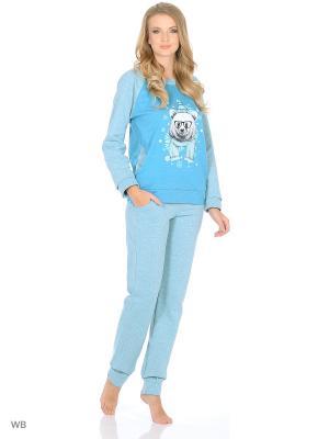 Утепленный домашний костюм  (кофта, брюки) HomeLike. Цвет: голубой